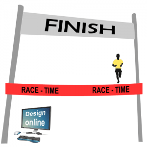 Design on your computer screen, finish line ribbon with text and logo