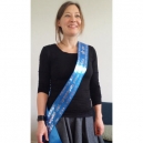 Blue sash  with silver printing