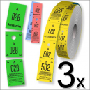 Three parts cloakroom tickets in roll format