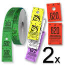 Rolls of cloakroom tickets divided into two partss