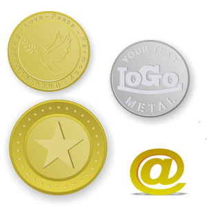 Brass tokens and coins embossed with logo and text