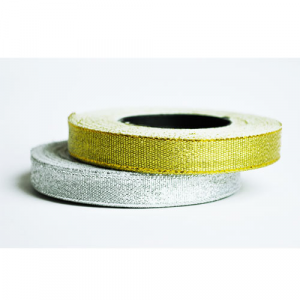 Ribbon rolls in metallic silver and metallic gold for textile wristbands