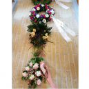 Custom made bouquet ribbons made of ECO satin fabric, with text and logo