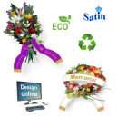 Design online bouquet ribbons made of ECO satin fabric with text and logo