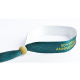 Custom made Textile festival wristbands made of recycled PET with a wood bead.