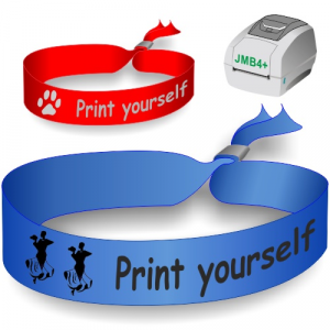 Textile wristbands printed on a JMB4+ thermal transfer printer. Used as festival wristbands