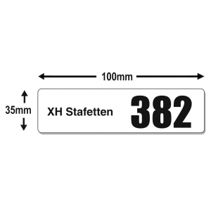 Race numbers stickers in different sizes with big numbers