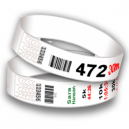 Race number wristbands with bar code and sequential numbering