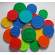 Embossed plastic tokens and coins