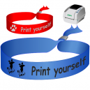 Textile wristbands printed on a JMB4 thermal transfer printer. Used as festival wristbands