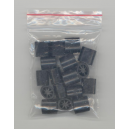 Plastic locks for textile wristbands in a PP bag