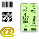 Custom made thermal cloakroom tickets with text and logo