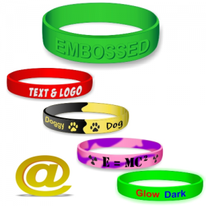 Custom made silicone wristbands with your text and logo