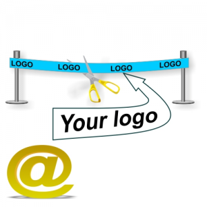 Send your design of an inauguration ribbon with logo and text