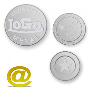 Aluminum tokens and coins embossed with logo and text