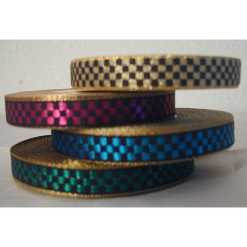 Fancy ribbon roll in metallic checkers for textile wristbands