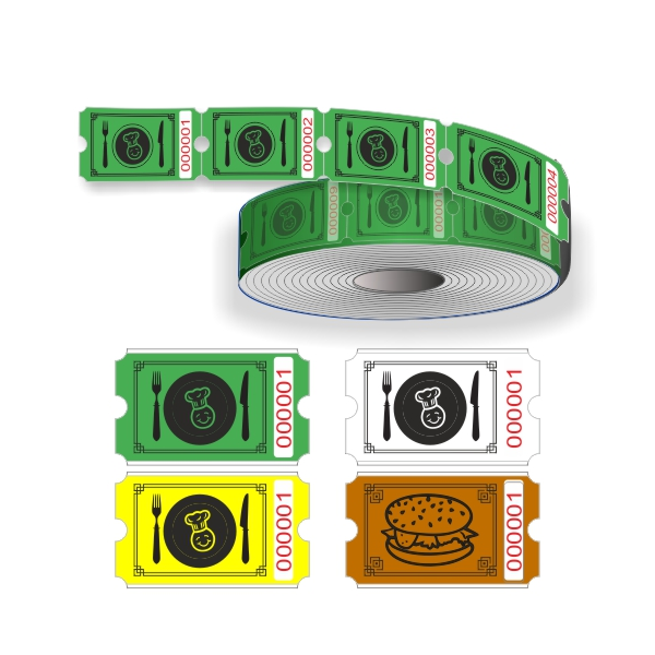 Food ticket rolls with sequential numbering
