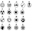Different designs of rubber stamps in stock