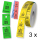 Cloakroom tickets rolls of three parts in different colors