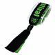 Wide woven textile festival wristband with lock mounted