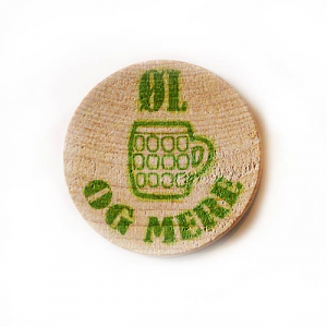 Printed tokens made of wood