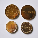 Custom made brass tokens with text and logo