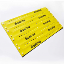 Sheet of printed narrow wristbands made of PVC