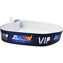 Fabric wristband with sublimation printing and plastic lock