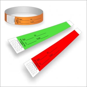 Paper wristbands with printing for ID