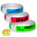 Plastic wristbands with adhesive lock, send your design