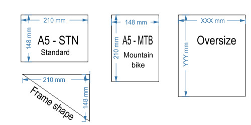 Race number dimensions and sizes